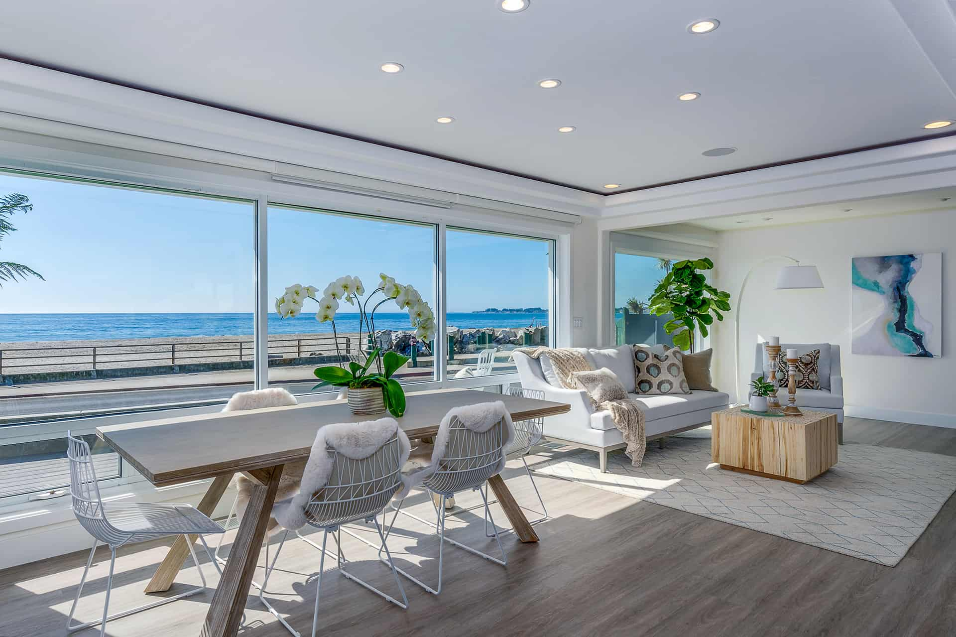 Extra large windows provide a wide, unobstructed ocean view