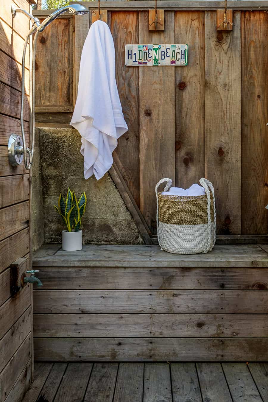 No beach home is complete without a rustic outdoor shower