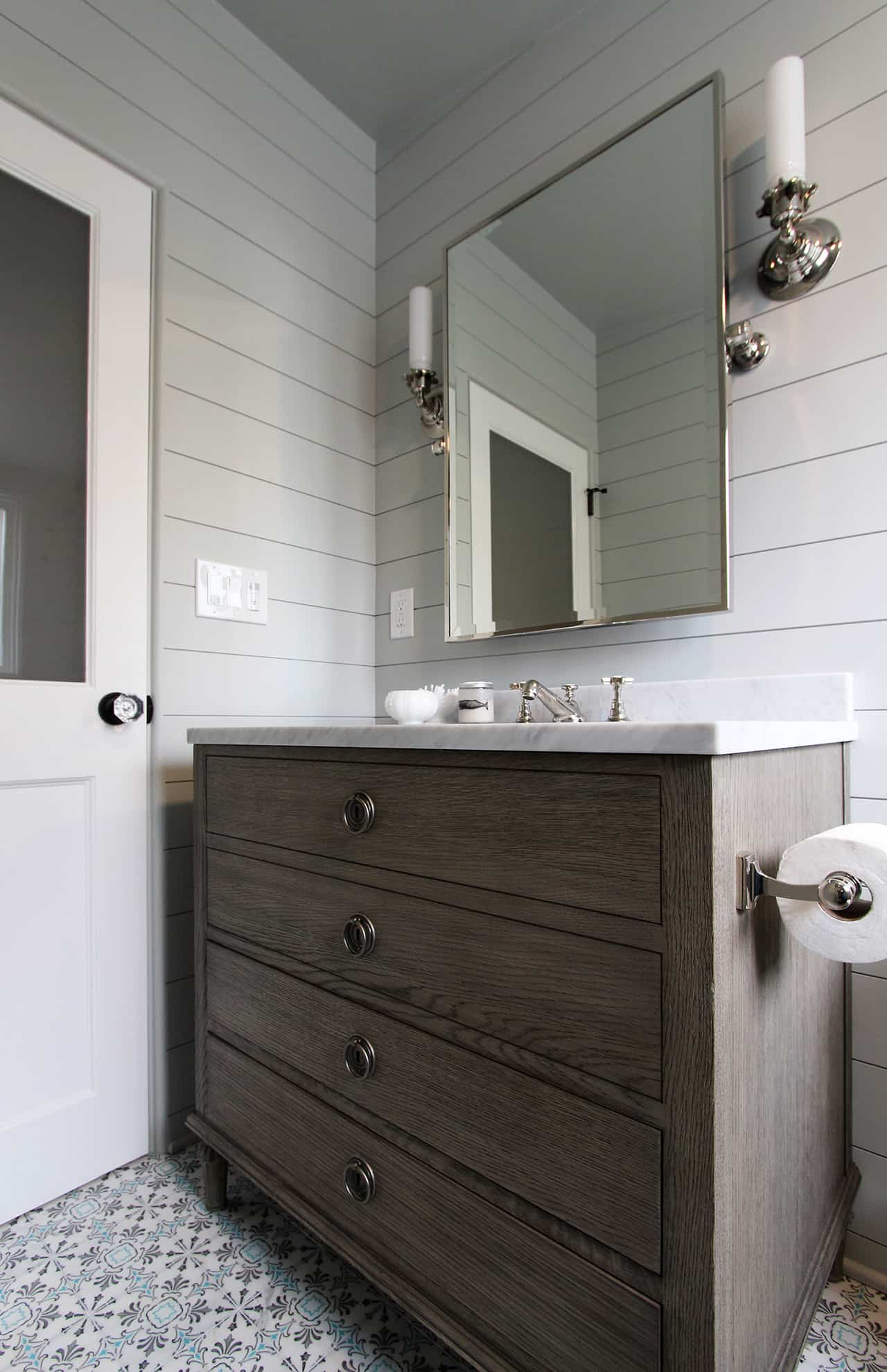 Natural finishes in this bathroom remodel