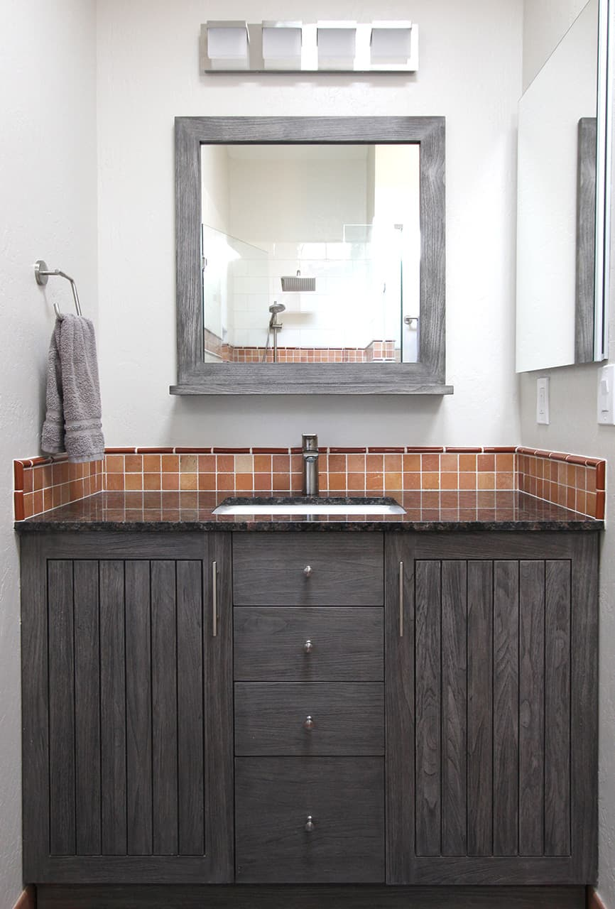 Rustic sophistication bathroom vanity and mirror